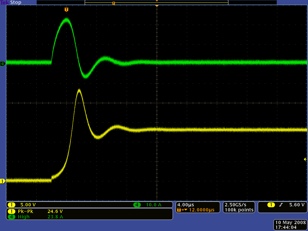 Pololu Understanding Destructive Lc Voltage Spikes To Make Your Own Drone On Low Battery Cut Off Circuit Diagram Oscilloscope Capture Of The Yellow And Current Green When Using A With Short Leads