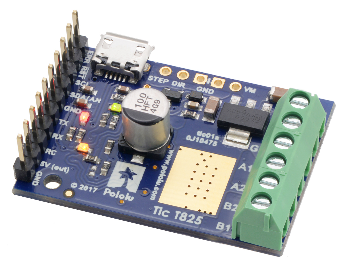 Pololu Tic T825 Usb Multi Interface Stepper Motor Controller 5 Volt Ttl Voltage Monitor Connectors Soldered