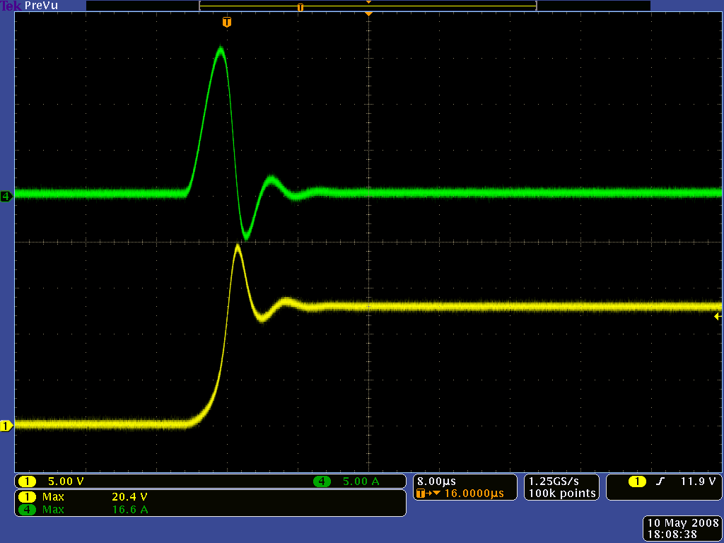 Pololu Understanding Destructive Lc Voltage Spikes E72 Lab 6 Switched Capacitor Circuits Filters Oscilloscope Capture Of Yellow And Current Green When Double Clicking A Pushbutton Power Switch Connected To Battery