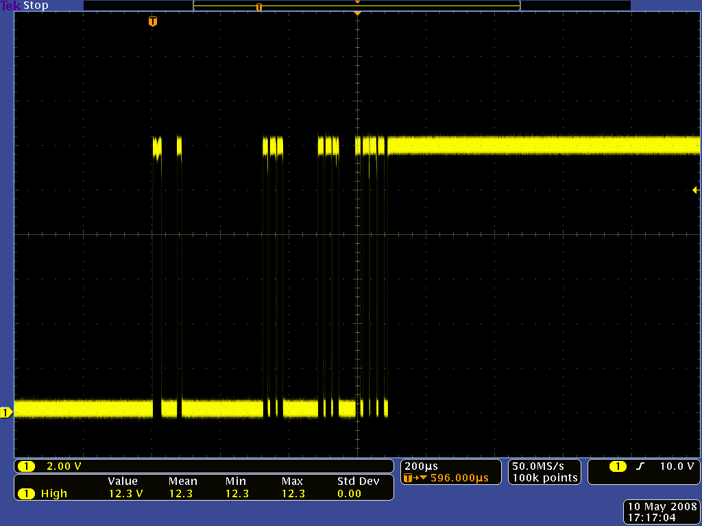 Pololu Understanding Destructive Lc Voltage Spikes In The Above Circuit When Toggle Switch Is Open As Shown 12 Oscilloscope Capture Of Output A Large Mechanical It Bounces