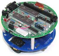 Pololu 5-inch Round Prototyping PCB, populated and mounted on a Pololu Round Robot Chassis.