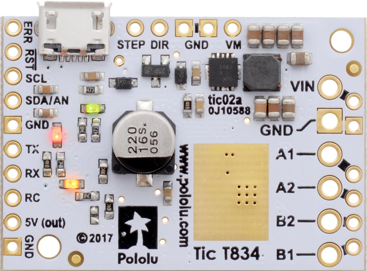 Pololu Tic T834 Usb Multi Interface Stepper Motor Controller