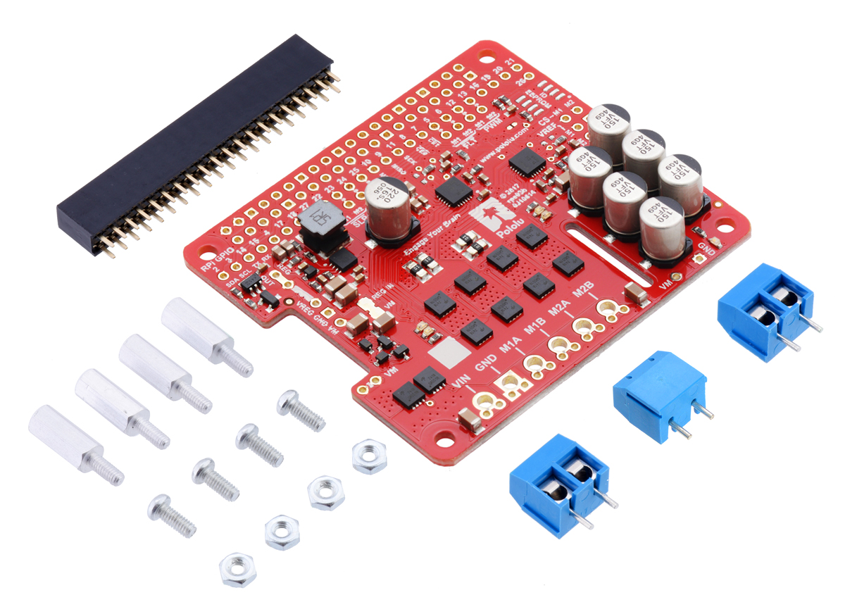 Pololu Dual G2 High Power Motor Driver 18v18 For Raspberry Pi Looks Like Printed Circuit Board Kit Version With Included Hardware