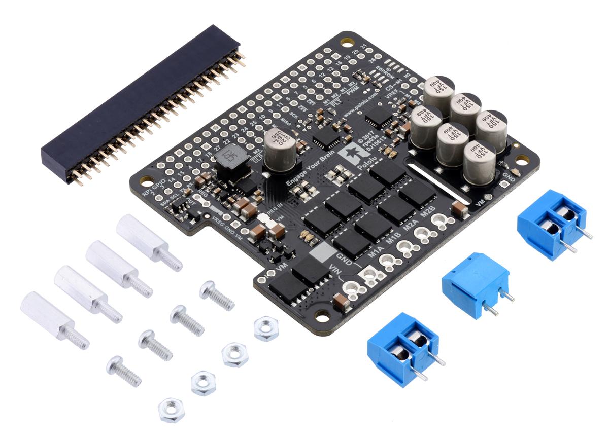 Pololu Dual G2 High-Power Motor Driver 18v22 for Raspberry Pi (Partial Kit)