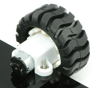 Micro metal gearmotor and Pololu wheel 42×19mm mounted with extended mounting bracket.