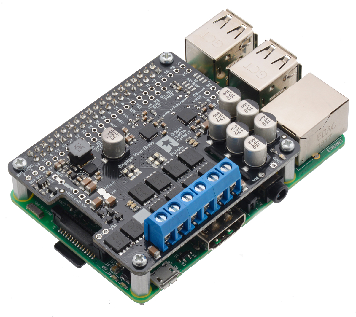 Pololu Dual G2 High Power Motor Driver 18v18 For Raspberry Pi Locking Circuit Board Support Spacer From Reliable The Matches Hat Hardware Attached On Top Mechanical Specification Although It Does Not Conform To Full Specifications Due
