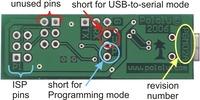 Pololu Orangutan USB Programmer labeled bottom view