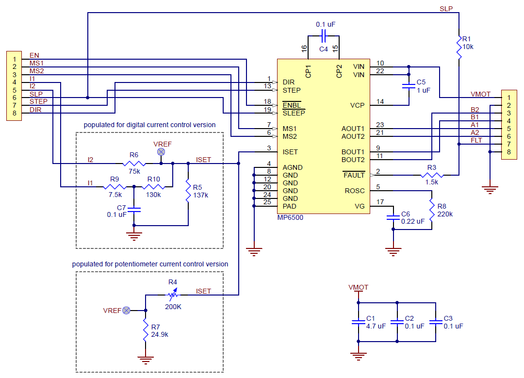 Pololu Mp6500 Stepper Motor Driver Carrier Digital Current Control Active Limiting Or Shortcircuit Protection Schematic Diagram