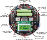 General features of the Pololu 3pi robot, top view.