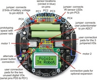 Specific features of the Pololu 3pi robot, top view.