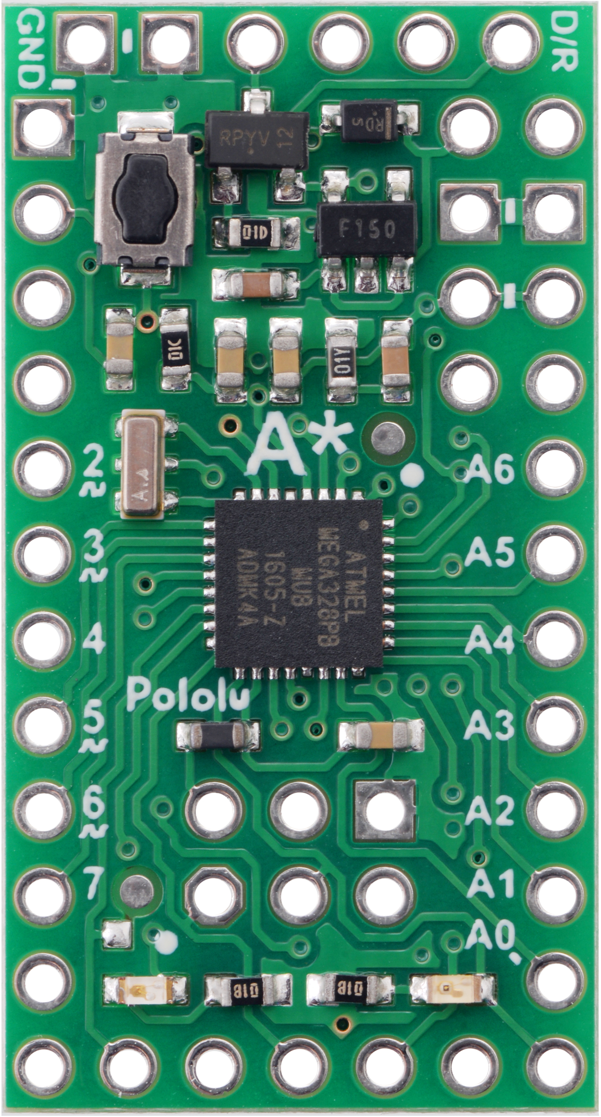 Pololu A Star 328pb Micro 5v 16mhz Atmega Programmer Usb Pcb Component Side The Board Can Be Powered Either Through To Serial Adapter Connected Its Header Or From Source Up 15 V On Bat Pin