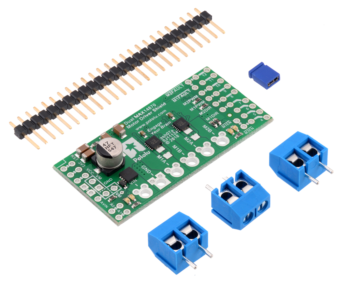 Pololu Dual Max14870 Motor Driver Shield For Arduino How To Set Up Load Sensor In A Full Bridge With Amplifier The Or Compatible Board Reverse Protected Power Can Be Provided Arduinos Vin Pin Through This Configuration