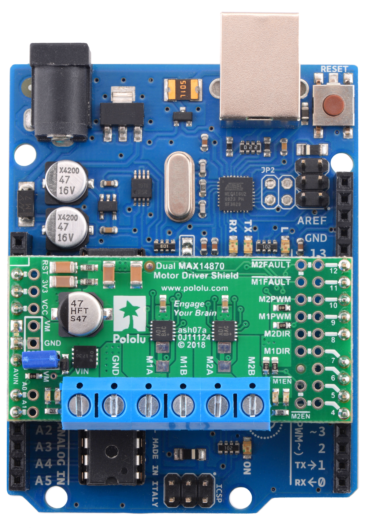 Pololu Dual Max14870 Motor Driver Shield For Arduino The Series Pwm Controller With Forward And Reverse Above Can Uses Digital Pins 4 7 8 9 10 12 Its Control Lines Though Pin Mappings Be Customized If Defaults Are Not