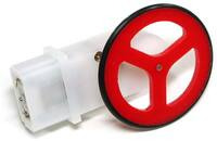 "Pololu 1.75""-diameter wheel for GM6/GM7 gearmotors, mounted on a GM6 gearmotor."