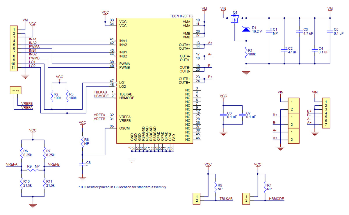 Pololu Tb67h420ftg Dual Single Motor Driver Carrier Is The Bidirectional Dc Circuit Which Allows Forward And Reverse Schematic Diagram Of