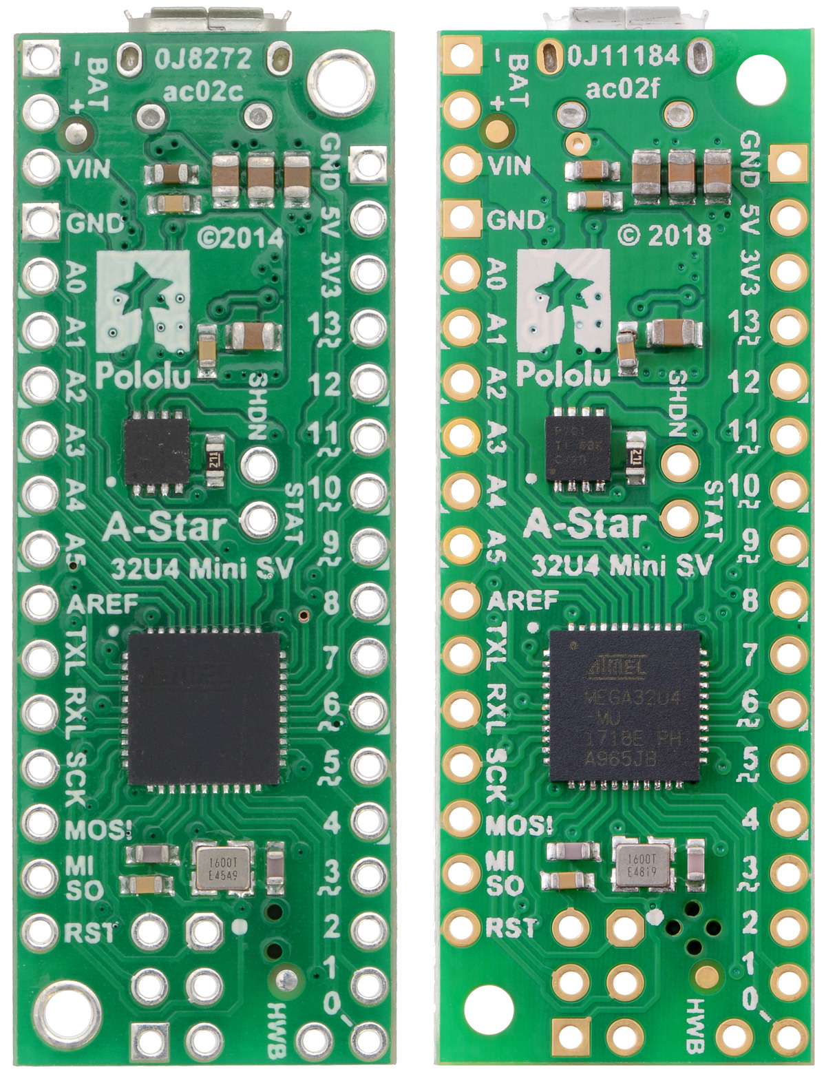 Pololu A Star 32u4 Users Guide Here Is The Functional Block Diagramof Usb Mcu Chip Mini Sv Comparison Of Original Ac02c Version Left To Newer Ac02f Right