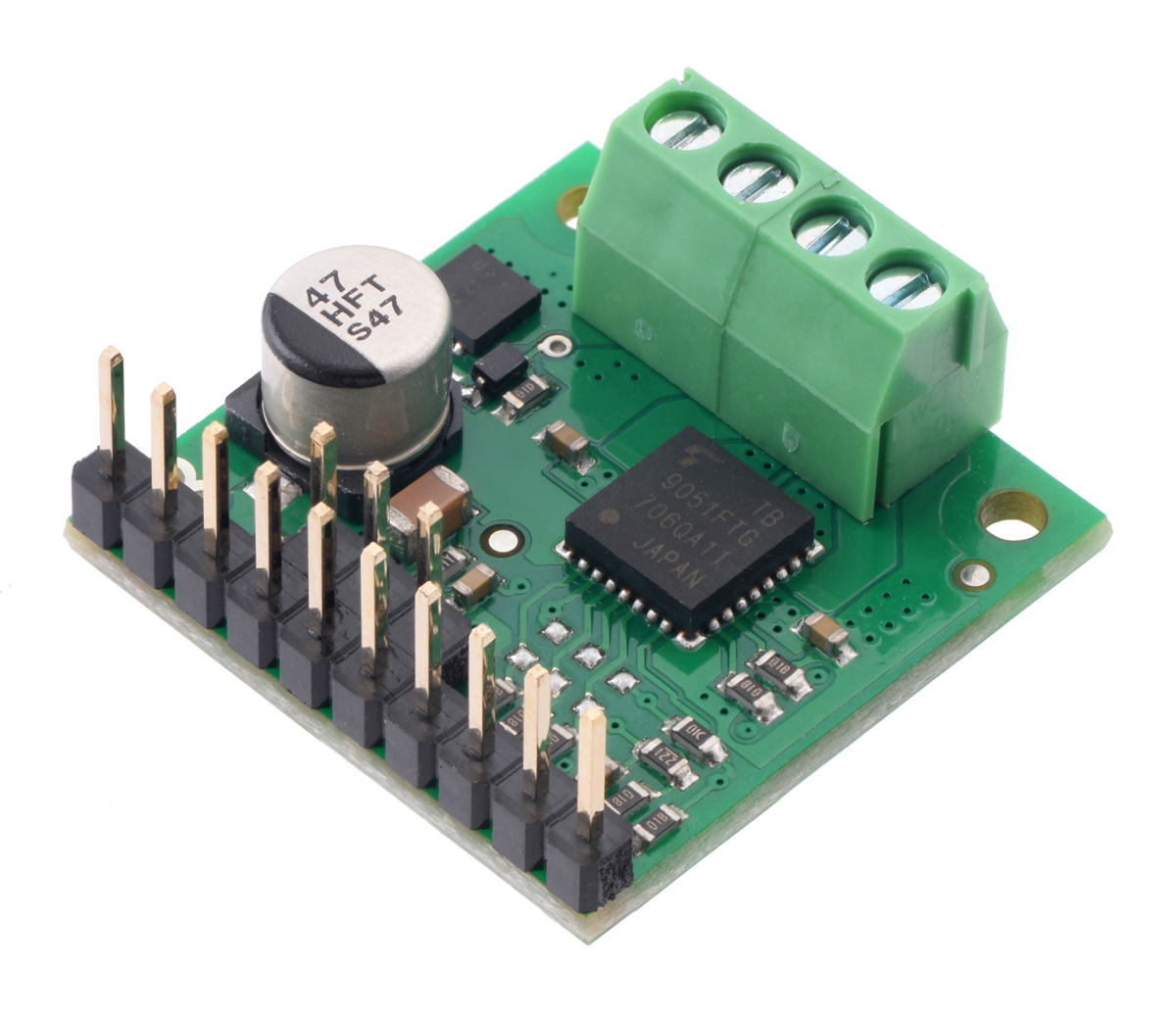 Pololu Tb9051ftg Single Brushed Dc Motor Driver Carrier Wiring Installation Coastal Source You Can Also Solder Your Leads And Other Connections Directly To The Board For Most Compact