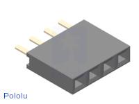"0.100"" (2.54 mm) Female Header: 1x4-Pin, Straight"
