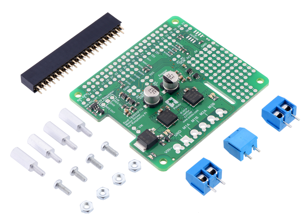 Pololu Dual Tb9051ftg Motor Driver For Raspberry Pi Partial Kit Is The Bidirectional Dc Circuit Which Allows Forward And Reverse Version With Included Hardware