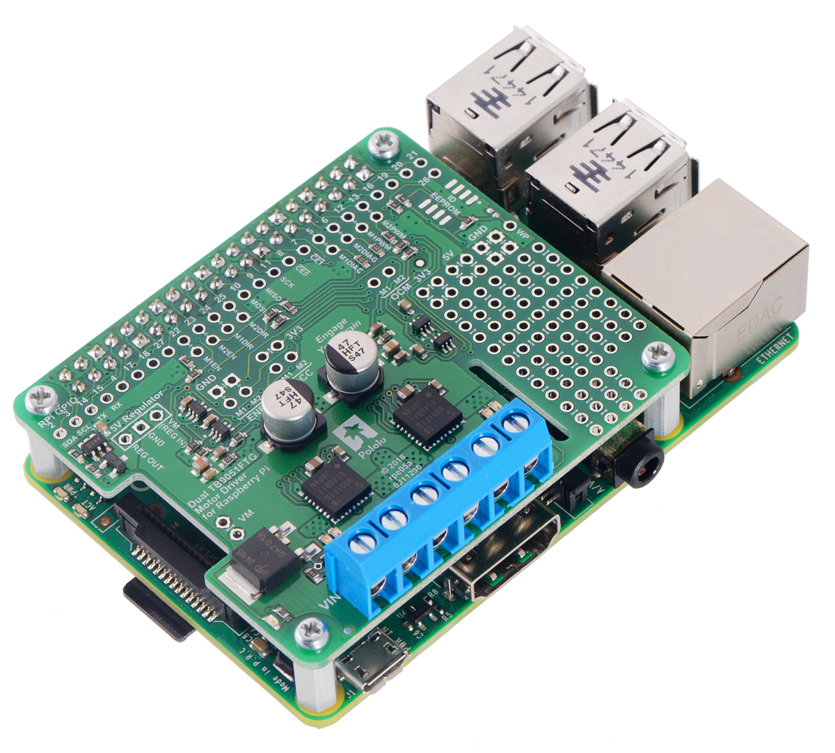 Pololu Dual Tb9051ftg Motor Driver For Raspberry Pi Assembled Ic Power Supply By 78xx 2013 Electronic Projects Circuits Single However The Pin Mappings Can Be Customized If Defaults Are Not Convenient And Other Control Inputs Outputs Of Ics Accessible On