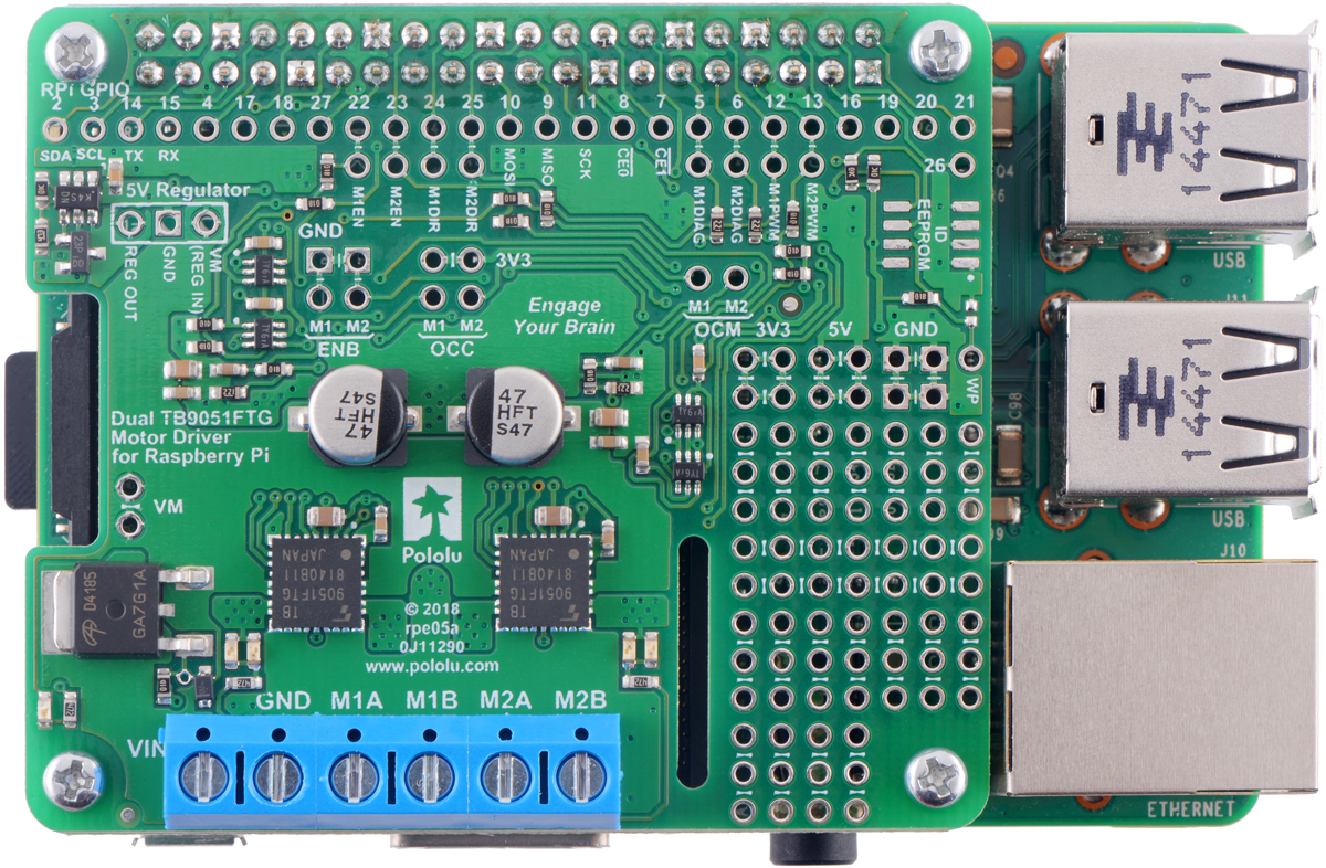 Pololu Dual Tb9051ftg Motor Driver For Raspberry Pi Assembled Dc Control Circuit Electronics Forum Circuits Projects And This Expansion Board Is Essentially A Breakout Two Ics With Additional Logic Circuitry To Simplify The