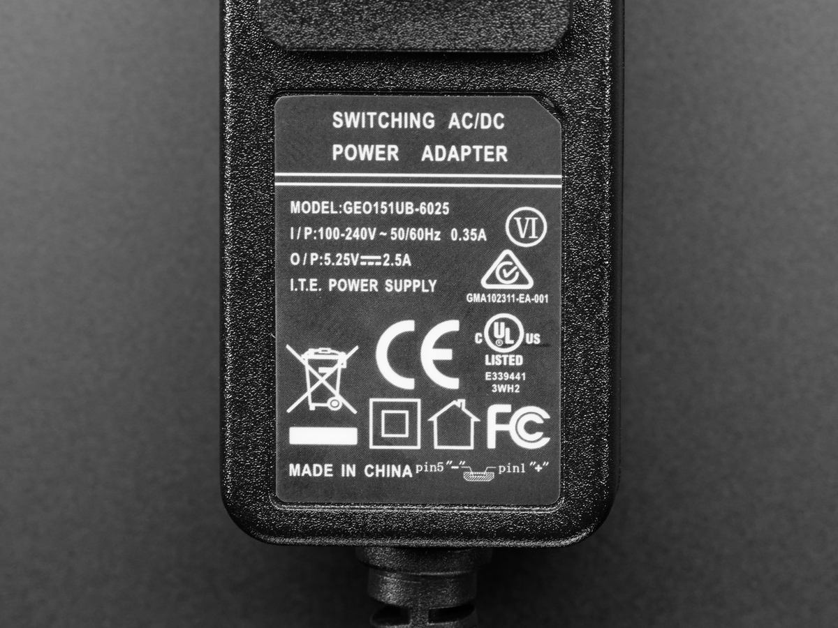 Pololu Wall Power Adapter 525vdc 25a 20awg Microusb Cable Supply Circuit Regulated Votlage Micro Switching This Ul Certified Ac To Dc Converter Gives You An Easy Way Deliver Up 25 A Your Usb Powered Device From Us Style Electrical Socket