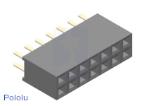 "0.100"" (2.54 mm) Female Header: 2x7-Pin, Straight"