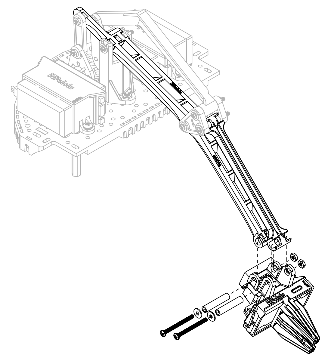 pololu user s guide for the robot arm kit for romi Sanyo EtherCAT Servo to keep the servo wires tidy you can snake them back along the main arm through the holes down the spine