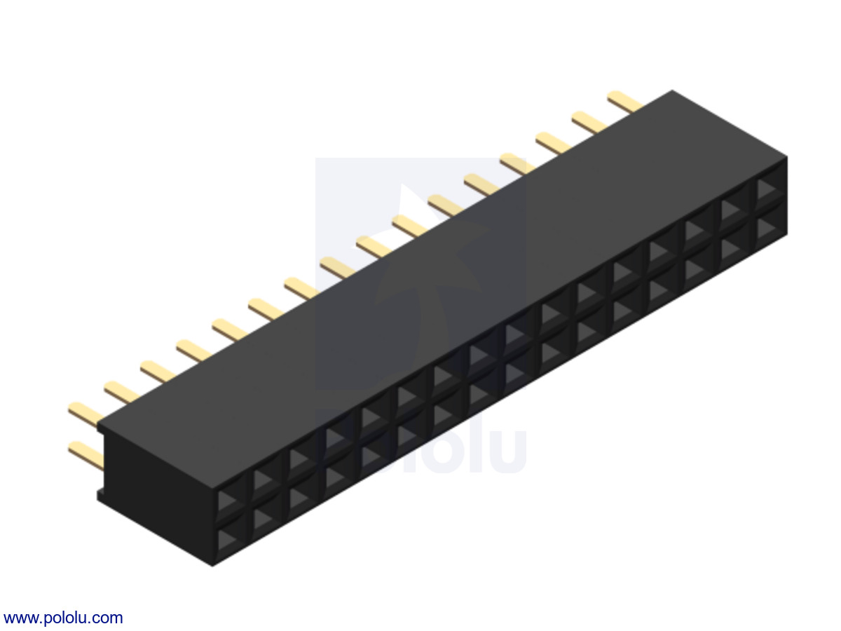 "0.100"" (2.54 mm) Female Header: 2x16-Pin, Straight"