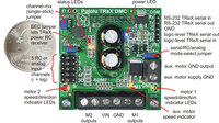 Pololu TReX Dual Motor Controller with labels