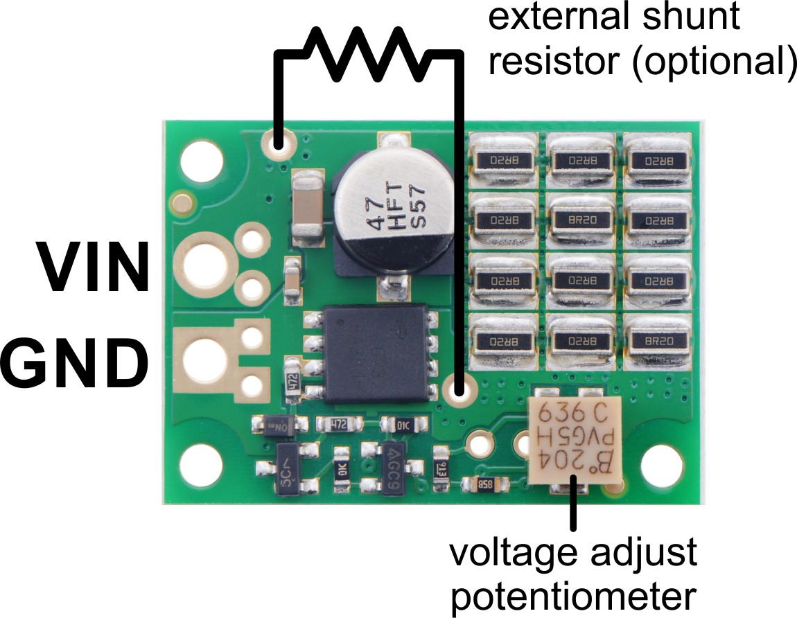 Pololu Shunt Regulator Fine Adjust Hv 410 15w Adjustable Zener Diode Circuit Schematic Pinout Diagram Of The Regulators Voltage Versions