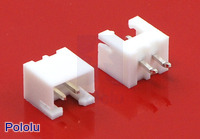 2.5 mm JST XH-Style Shrouded Male Connector: 2-Pin, Straight