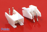 2.5 mm JST XH-Style Shrouded Male Connector: 2-Pin, Right Angle Extended