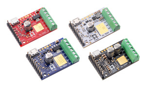 Tic T500, T834, T825, and T249 USB Multi-Interface Stepper Motor Controllers.