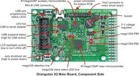 Pololu Orangutan X2 Robot Controller main board, component side.